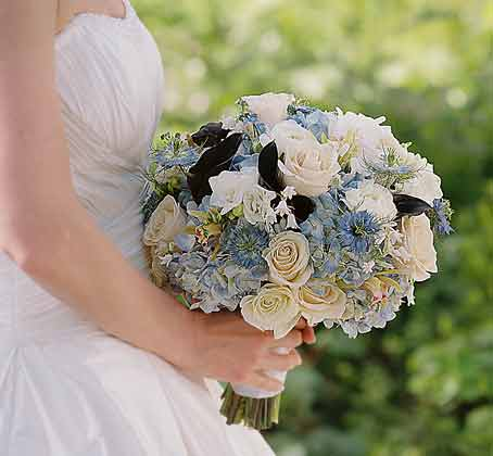 Blue And White Wedding Flowers. Maine Spring wedding bouquet